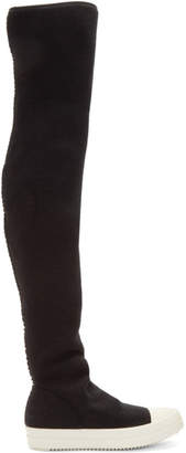 Rick Owens Black Wool Stocking Over-the-Knee Boots