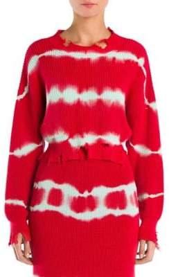 MSGM Crop Distressed Tie Dye Sweater