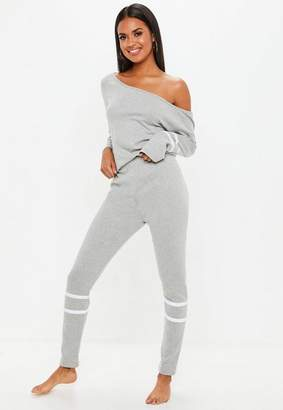 Missguided Grey Rib Mix And Match Sports Stripe Loungewear Leggings