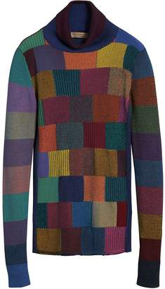 Burberry Patchwork Cotton Blend Roll-neck Sweater
