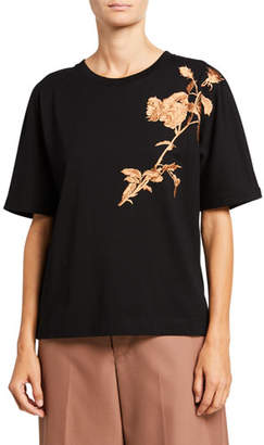 Dries Van Noten Floral Cotton Crewneck Top
