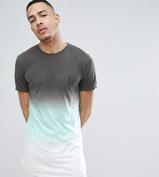 Religion TALL Longline T-Shirt With Curved Hem In Color Fade