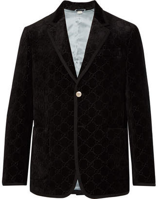 Gucci Black Grosgrain-Trimmed Embroidered Velvet Blazer - Black