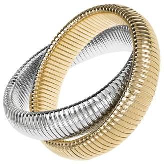Janis Savitt Large High Polished Gold and Rhodium Double Cobra Bracelet