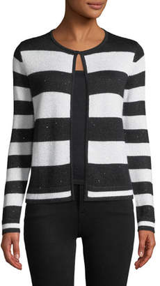 Neiman Marcus Sequin Striped Open-Front Cashmere Cardigan