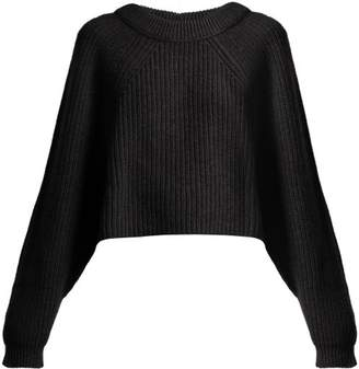 Lemaire Cropped Alpaca Blend Sweater - Womens - Black