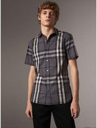 Burberry Short-sleeved Check Stretch Cotton Shirt , Size: XXL, Grey