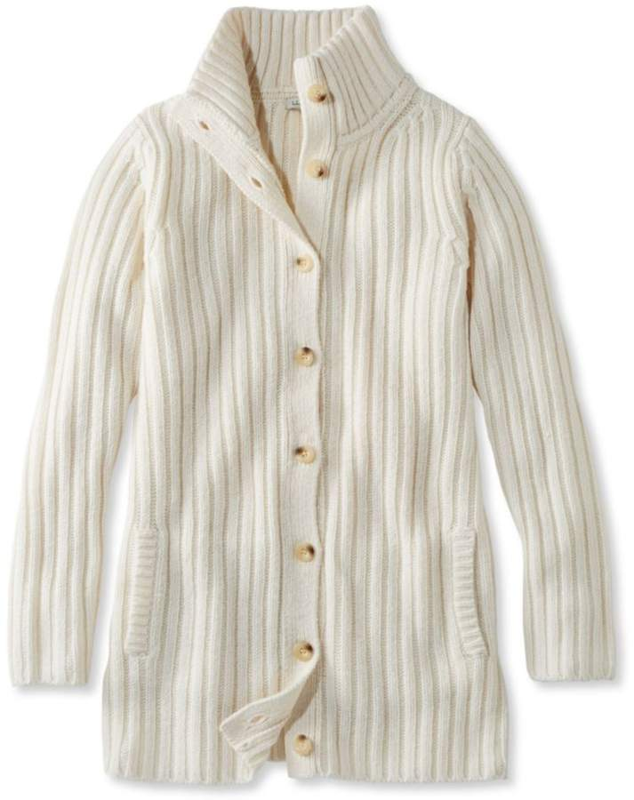 L.L.Bean Chunky Ribbed Sweater, Button-Front Long Cardigan