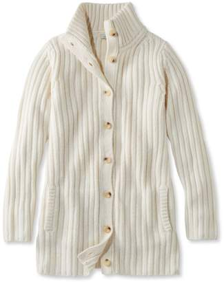 L.L. Bean L.L.Bean Chunky Ribbed Sweater, Button-Front Long Cardigan