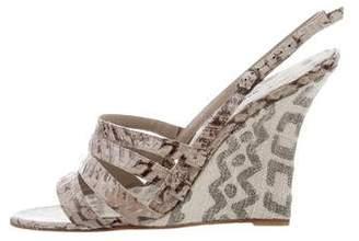 Manolo Blahnik Embossed Wedge Sandals