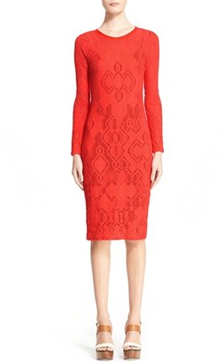 Women's Fuzzi Long Sleeve Geo Lace Sheath Dress $395 thestylecure.com