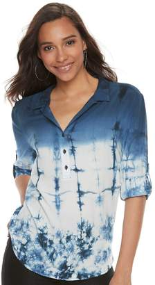 Rock & Republic Women's Tie-Dye Roll Cuff Popover Top
