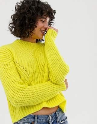 Stradivarius crew neck neon sweater
