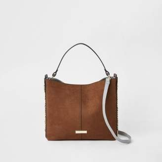River Island Brown chain side slouch bag