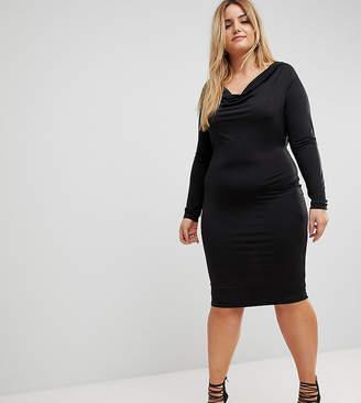 Asos Plunge Cowl Neck Mini Bodycon Dress