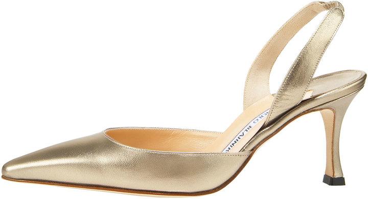 Manolo Blahnik Napa Mid-Heel Halter, Metallic Gold