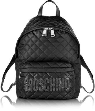 Moschino Black Quilted Nylon Backpack w/Logo