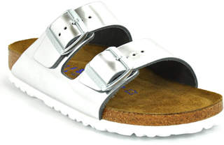Birkenstock Arizona 552963 - Silver Metallic Leather Flat Slide