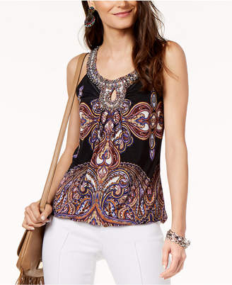 INC International Concepts I.n.c. Embellished-Neck Halter Top, Created for Macy's