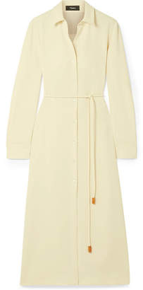 Theory Belted Crepe De Chine Midi Dress - Ivory