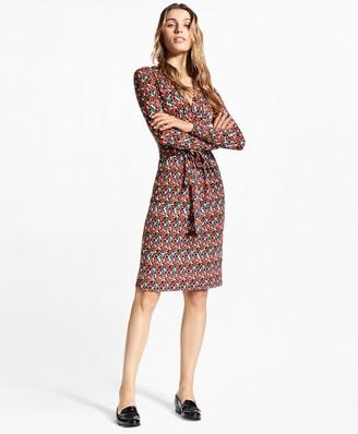 "Brooks Brothers B"" Print Jersey Faux Wrap Dress"