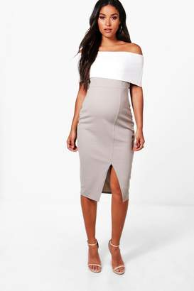 boohoo Maternity Contrast Off The Shoulder Midi Dress