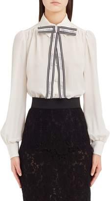 Dolce & Gabbana Bow Neck Silk Crepe de Chine Blouse