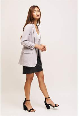 Dynamite Fitted Boyfriend Blazer Zinc & Cream Twill