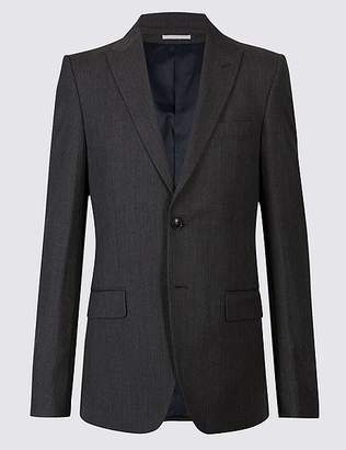 Marks and Spencer Grey Textured Tailored Fit Wool Jacket