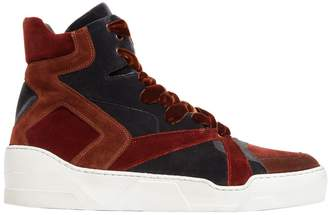 Two Tone Velvet High Top Sneakers