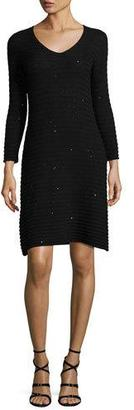 Armani Collezioni Sequined Ribbed-Knit Long-Sleeve Dress, Black $1,295 thestylecure.com