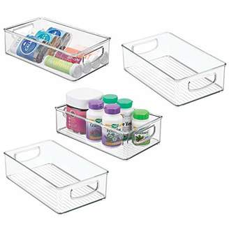mDesign Stackable Plastic Storage Organizer Bins Trays Holders with Handles - Holds Vitamins