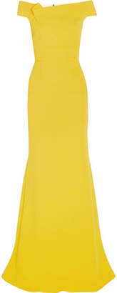 Roland Mouret Gerzon Off-the-shoulder Wool-crepe Gown - Yellow