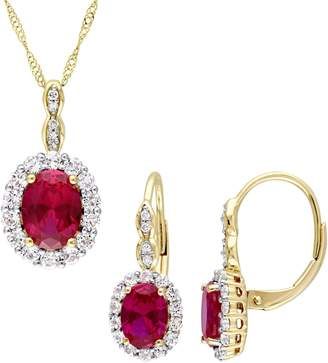 Concerto 14K Yellow Gold, Ruby, White Topaz and Diamond Vintage Necklace and Earrings Set