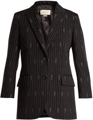 Gucci Logo wool and silk-blend jacquard blazer