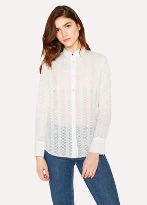 Paul Smith Women's White Openwork Stripe Detail Shirt
