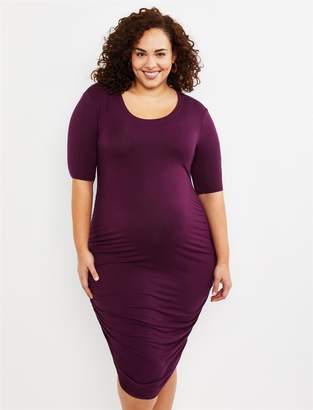 Motherhood Maternity Plus Size Side Ruched Maternity Dress