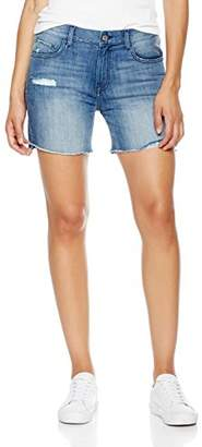 Madison Female Denim Women's Bowery Relaxed Distressed Jean Short with Ripped Step Hem
