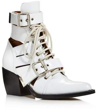 Chloé Women's Rylee Pointed Toe Leather Ankle Booties