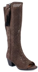 Nature Breeze Peep Toe Women's Perforated Boots in Taupe
