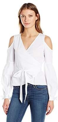 Nicole Miller Women's Cotton Poplin Wrap Cold Shoulder Top