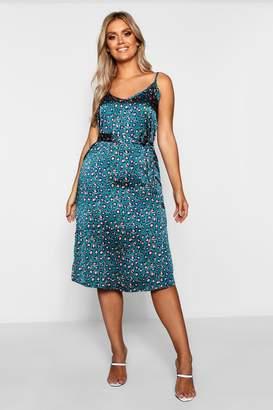 boohoo Plus Leopard Print Strappy Midi Dress