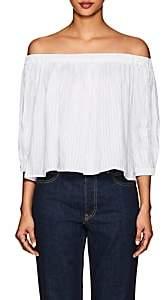 Frame Women's Striped Linen-Blend Off-The-Shoulder Top-White