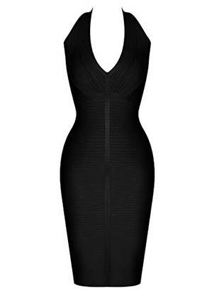 Deer Lady Womens Halter Bodycon Midi Simple Cocktail Party Bandage Dress L