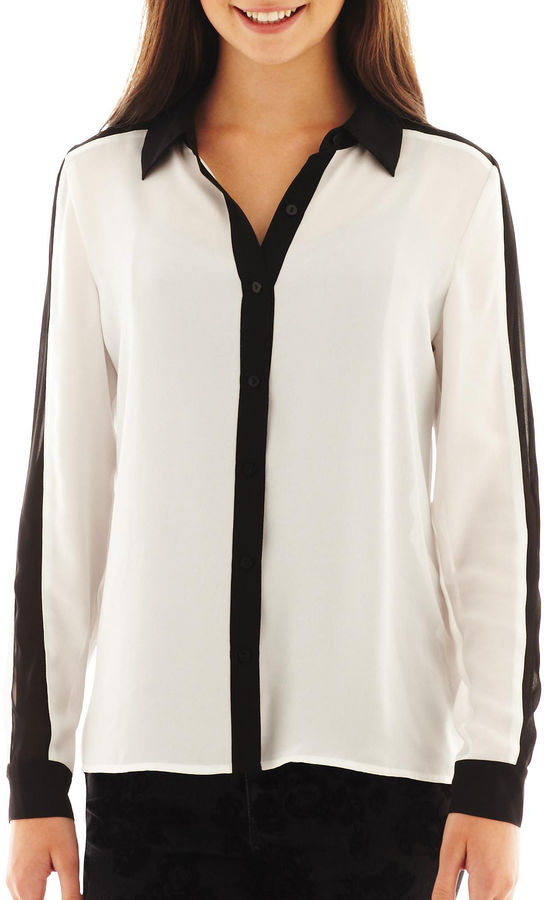 JCPenney Decree Contrast Button-Front Shirt