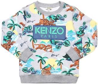 Kenzo Logo Tigers Printed Cotton Sweatshirt