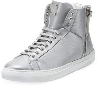 MCM Men's Embossed Leather Turn-Lock High-Top Sneakers