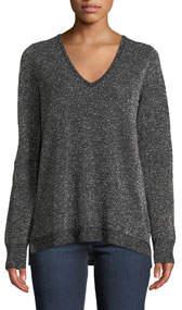 Metallic Double V-Neck Sweater