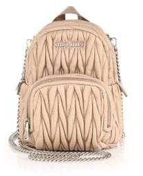 Miu Miu Mini Matelasse Leather Crossbody Backpack