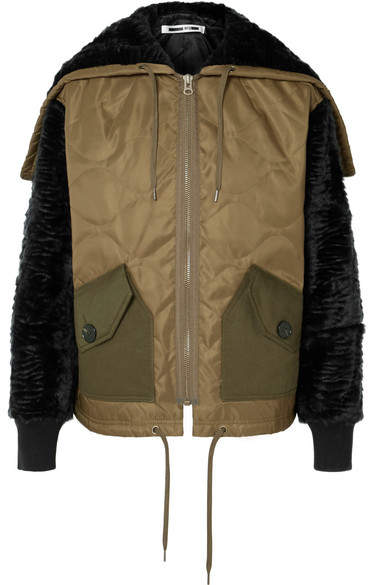 Shearling And Felt-trimmed Quilted Shell Jacket - Army green